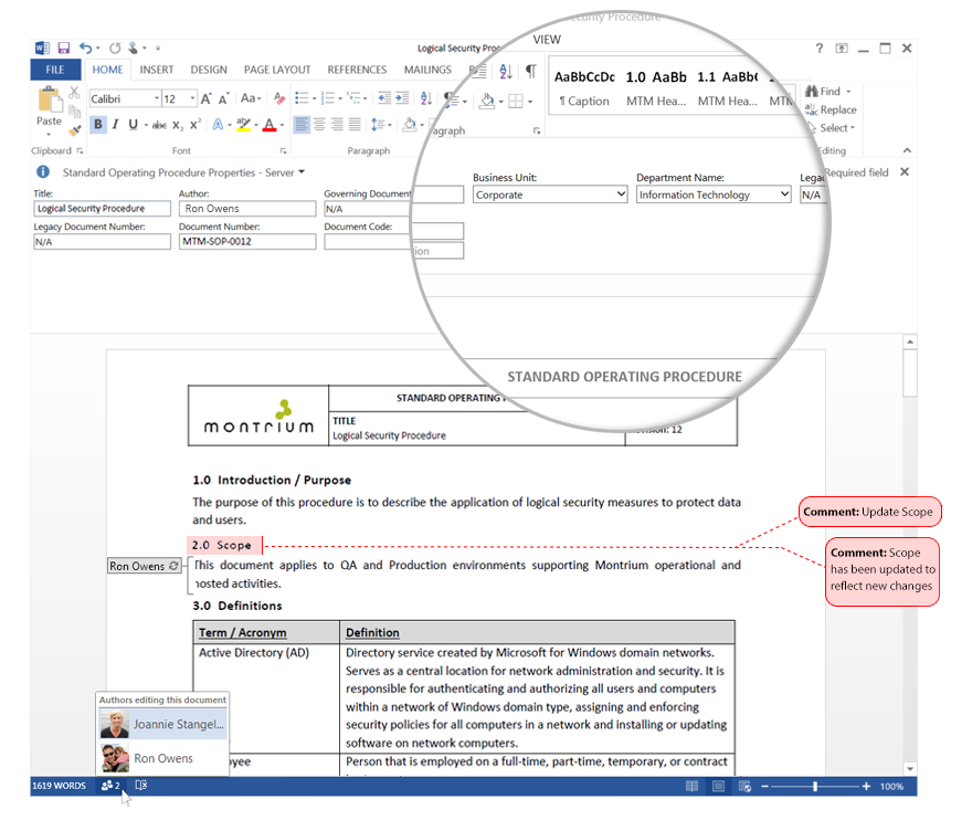 Integration with Microsoft Word facilitates Collaboration